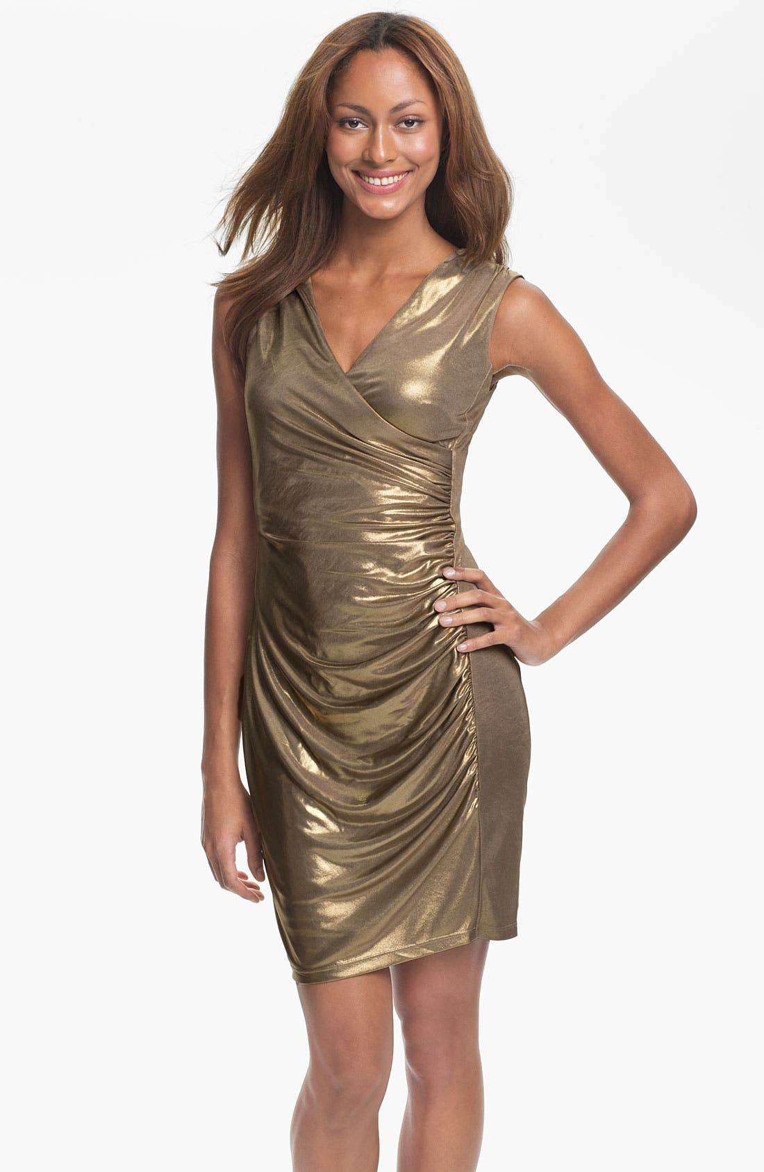 Main Image - Marc New York by Andrew Marc Ruched Gold Jersey Sheath Dress