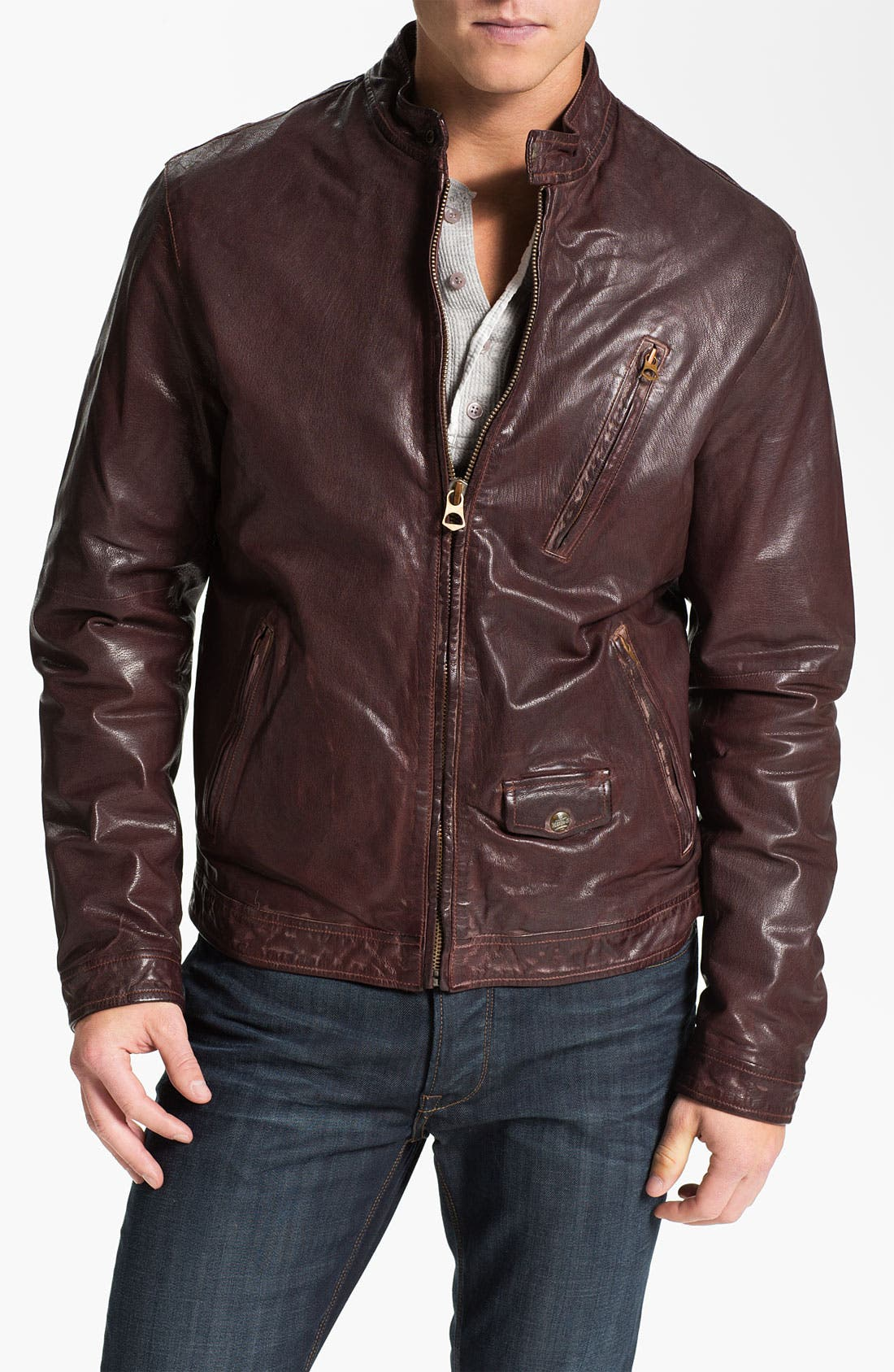 Main Image - Scotch & Soda Leather Moto Jacket