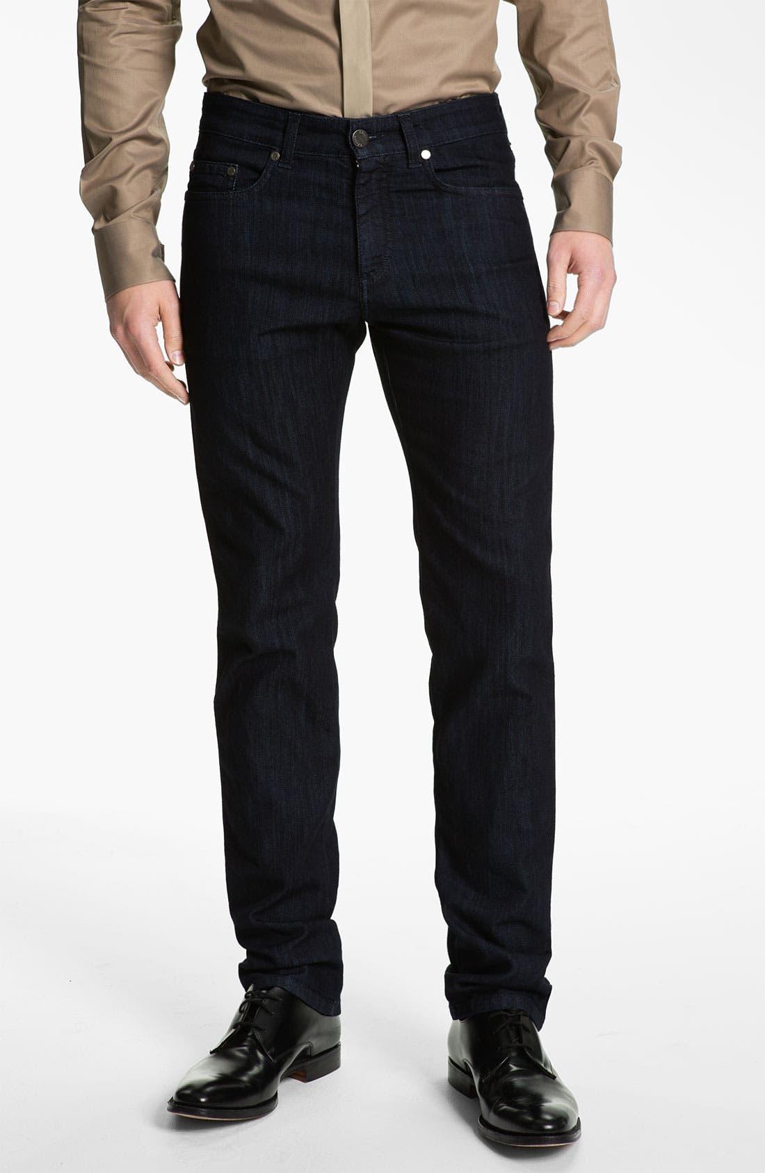 Alternate Image 1 Selected - Z Zegna Straight Leg Jeans (Black)
