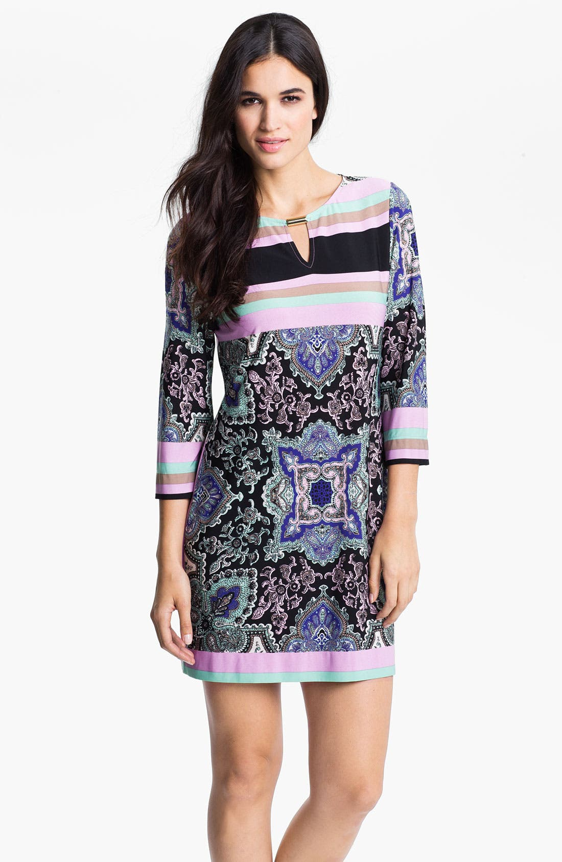Main Image - Donna Morgan Print & Stripe Keyhole Detail Knit Dress