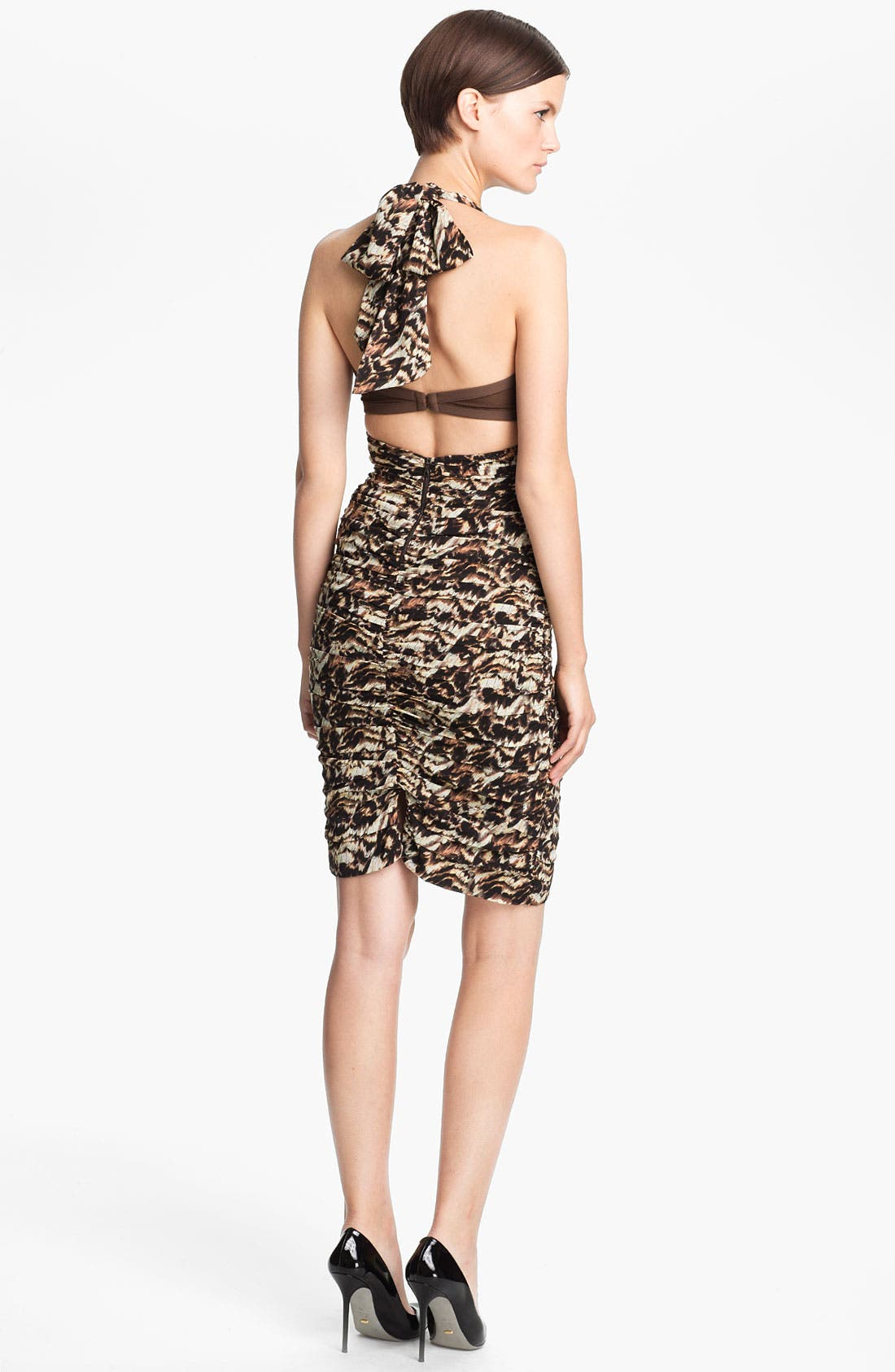Alternate Image 2  - Alice + Olivia 'Hildie' Ruched Stretch Silk Halter Dress