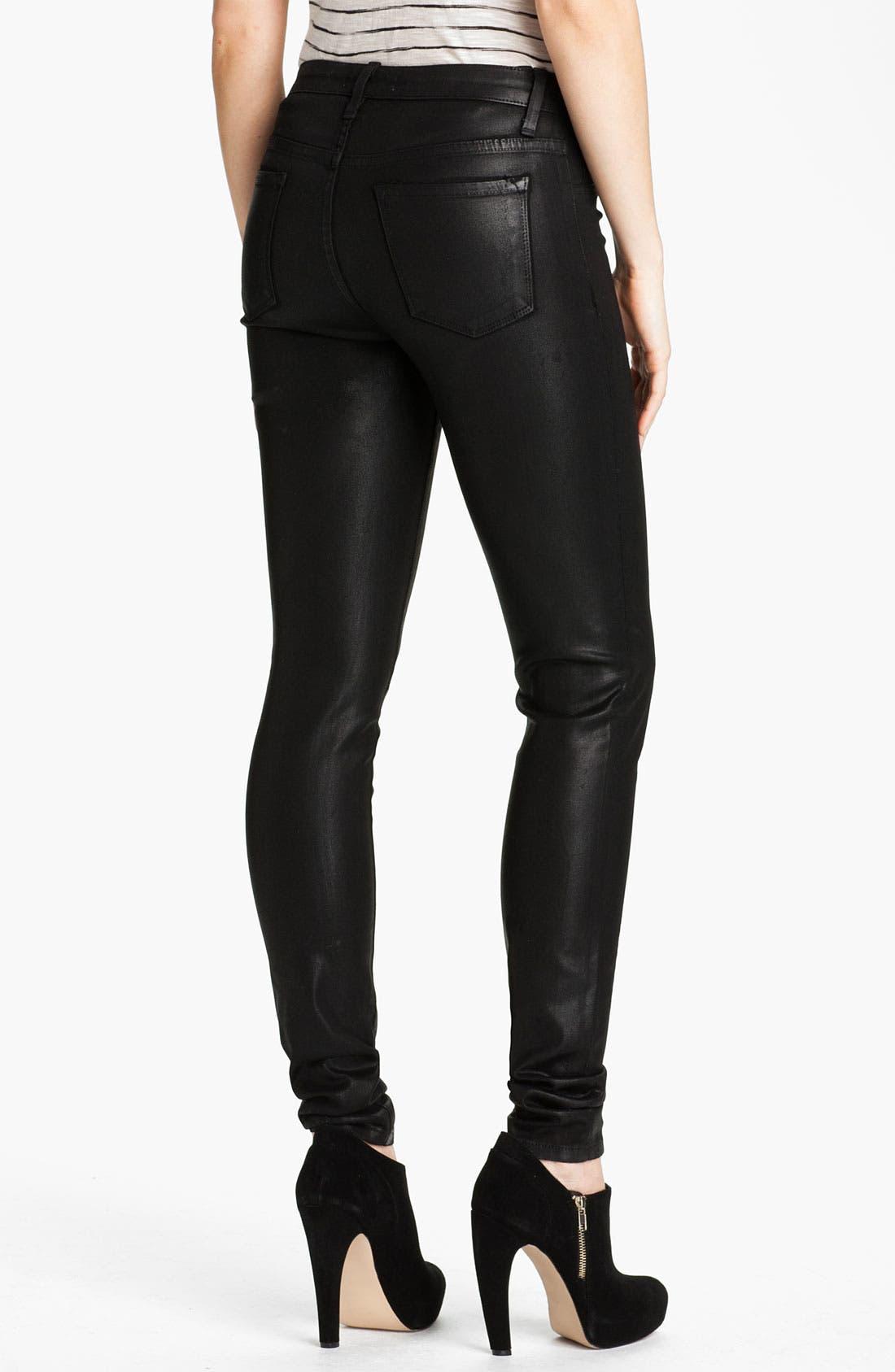 Sarah & George Coated Denim Jeans,                             Alternate thumbnail 2, color,                             Black