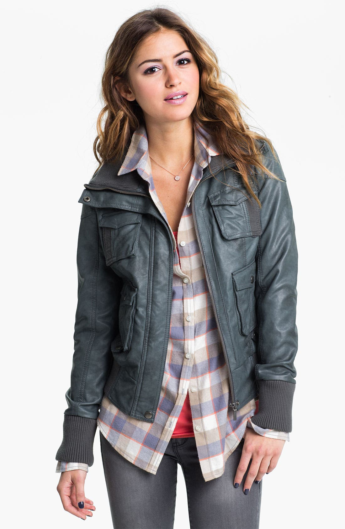Alternate Image 1 Selected - Collection B Faux Leather Bomber Jacket (Juniors)