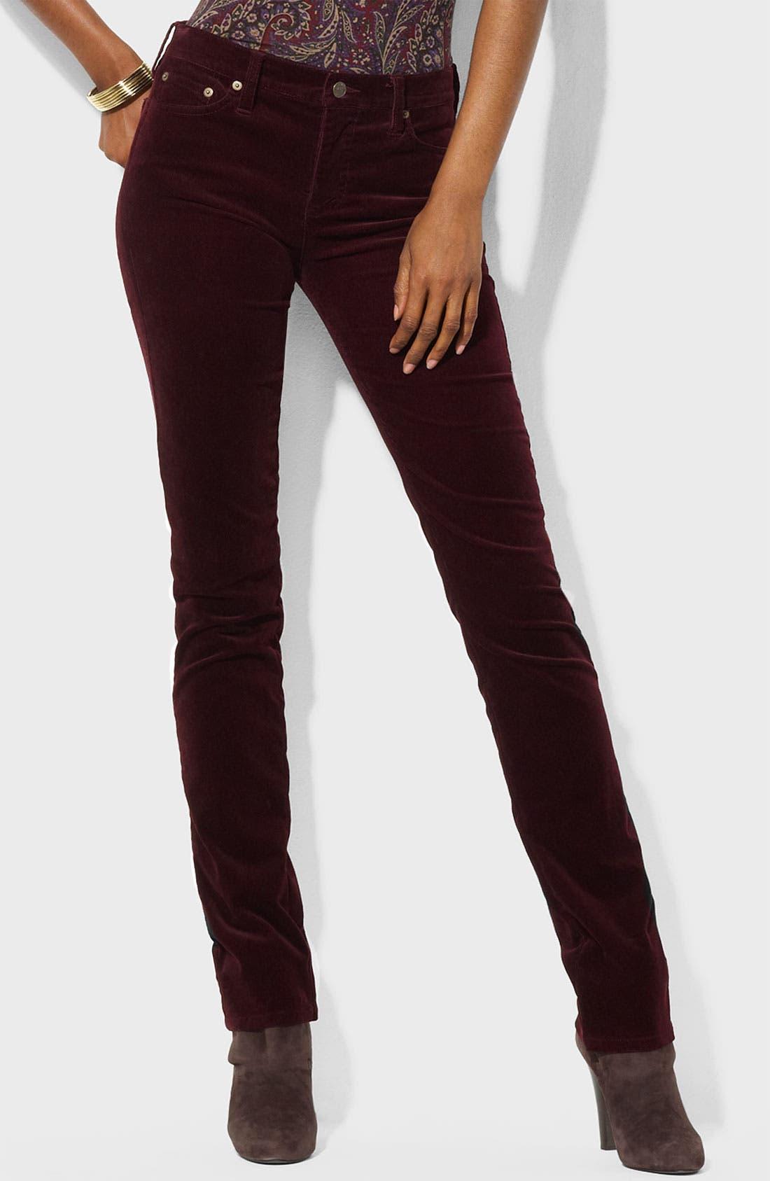 Main Image - Lauren Ralph Lauren Straight Leg Corduroy Pants (Petite) (Online Exclusive)