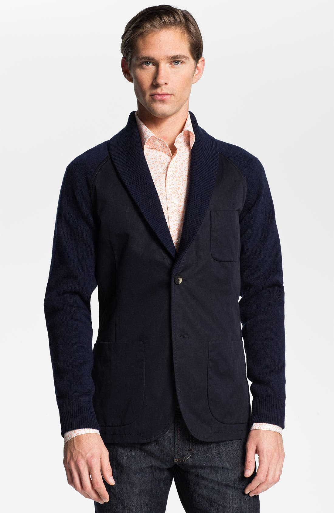 Main Image - Salvatore Ferragamo Shawl Collar Sportcoat with Knit Trim