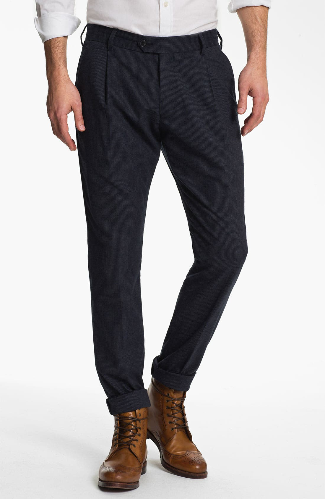Main Image - French Connection 'City Stripe' Pleated Front Trousers