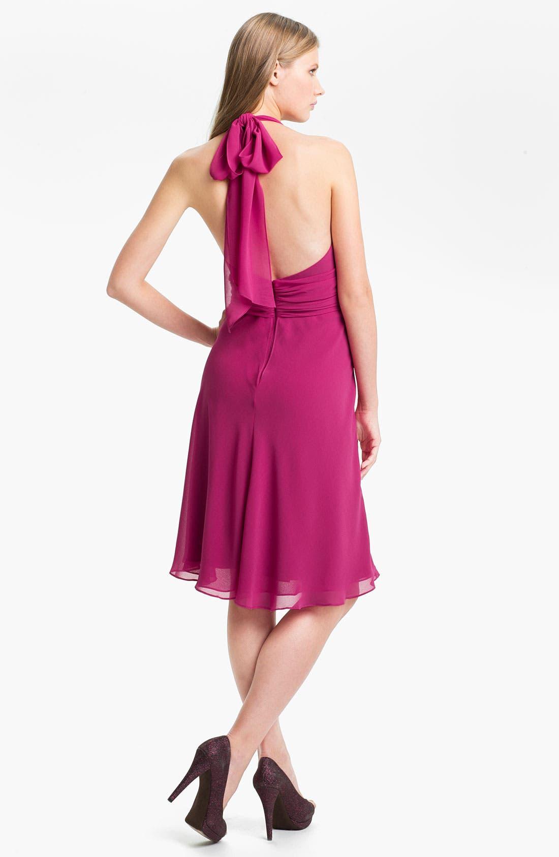 Alternate Image 2  - Donna Ricco V-Neck Chiffon Halter Dress
