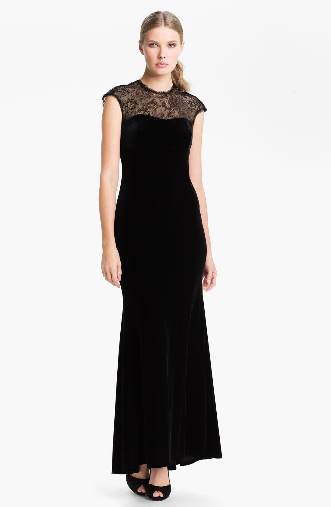 Alternate Image 1 Selected - Jessica McClintock Lace Yoke Velvet Trumpet Gown