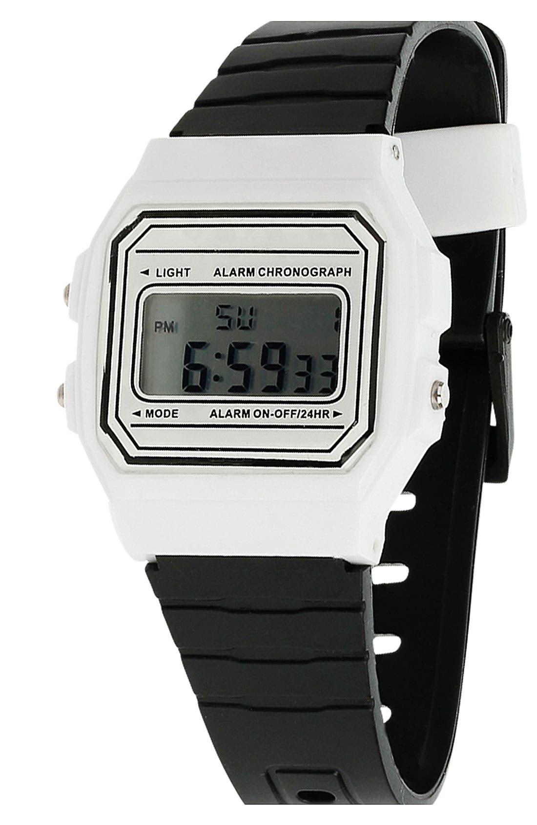Alternate Image 1 Selected - Topman Digital Black & White Watch