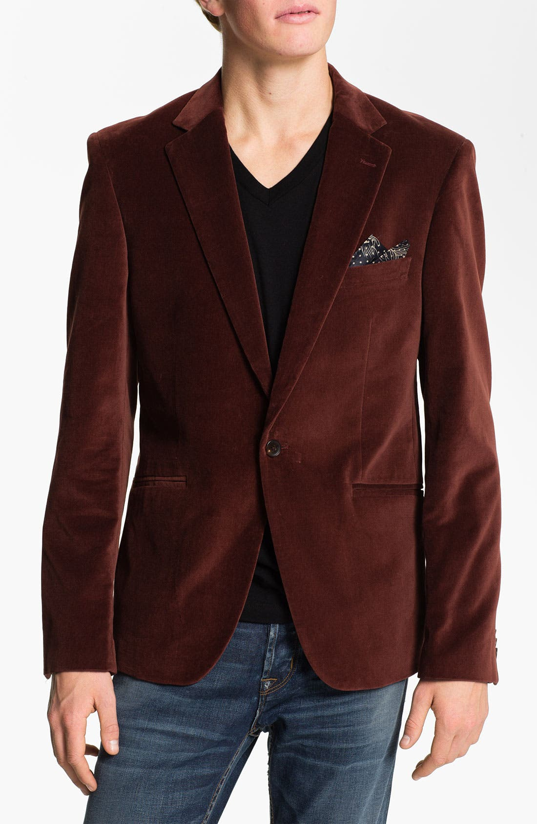 Alternate Image 1 Selected - Scotch & Soda Trim Fit Velvet Blazer