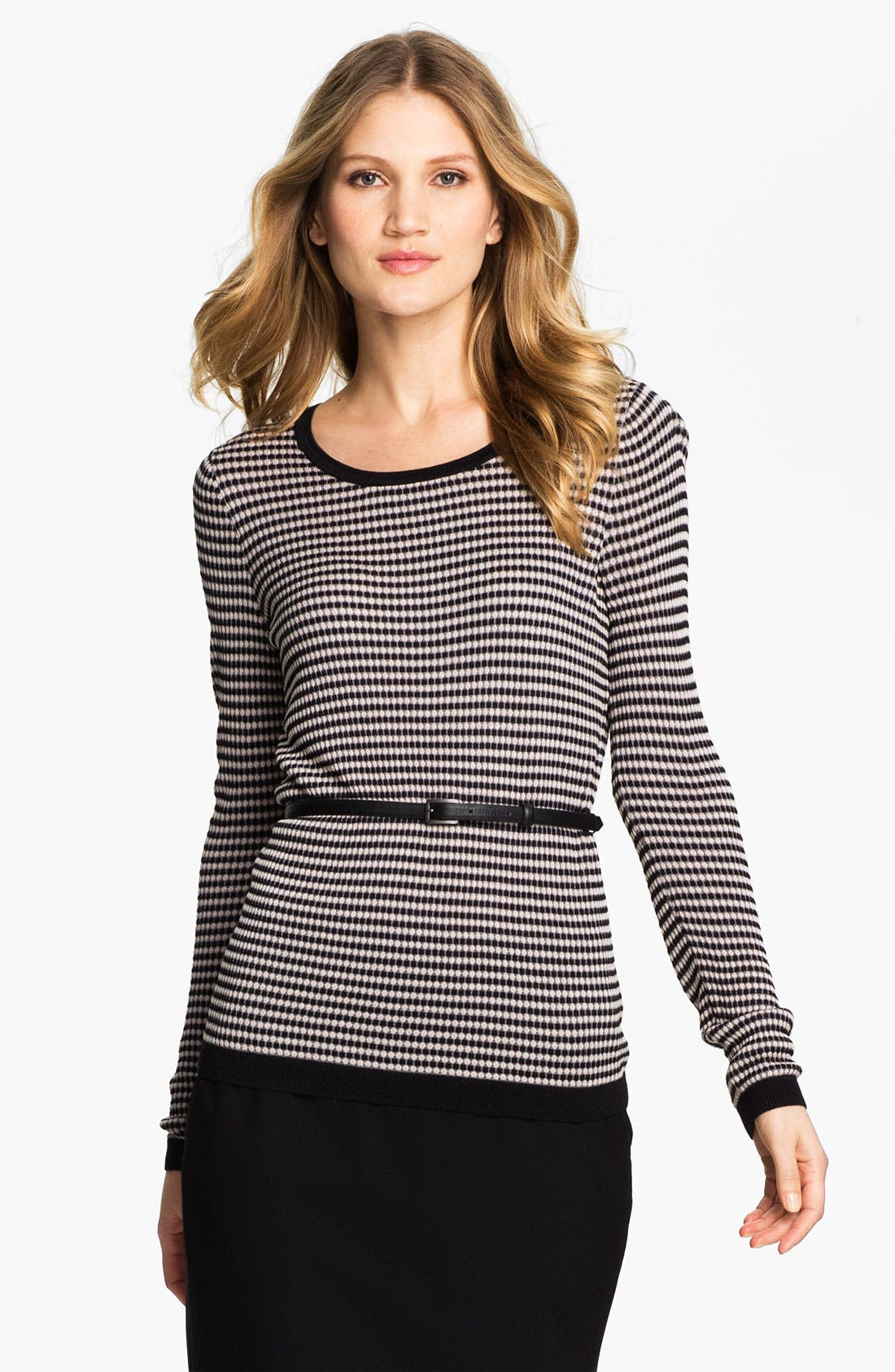 Alternate Image 1 Selected - Classiques Entier® 'Tessa' Belted Jacquard Sweater