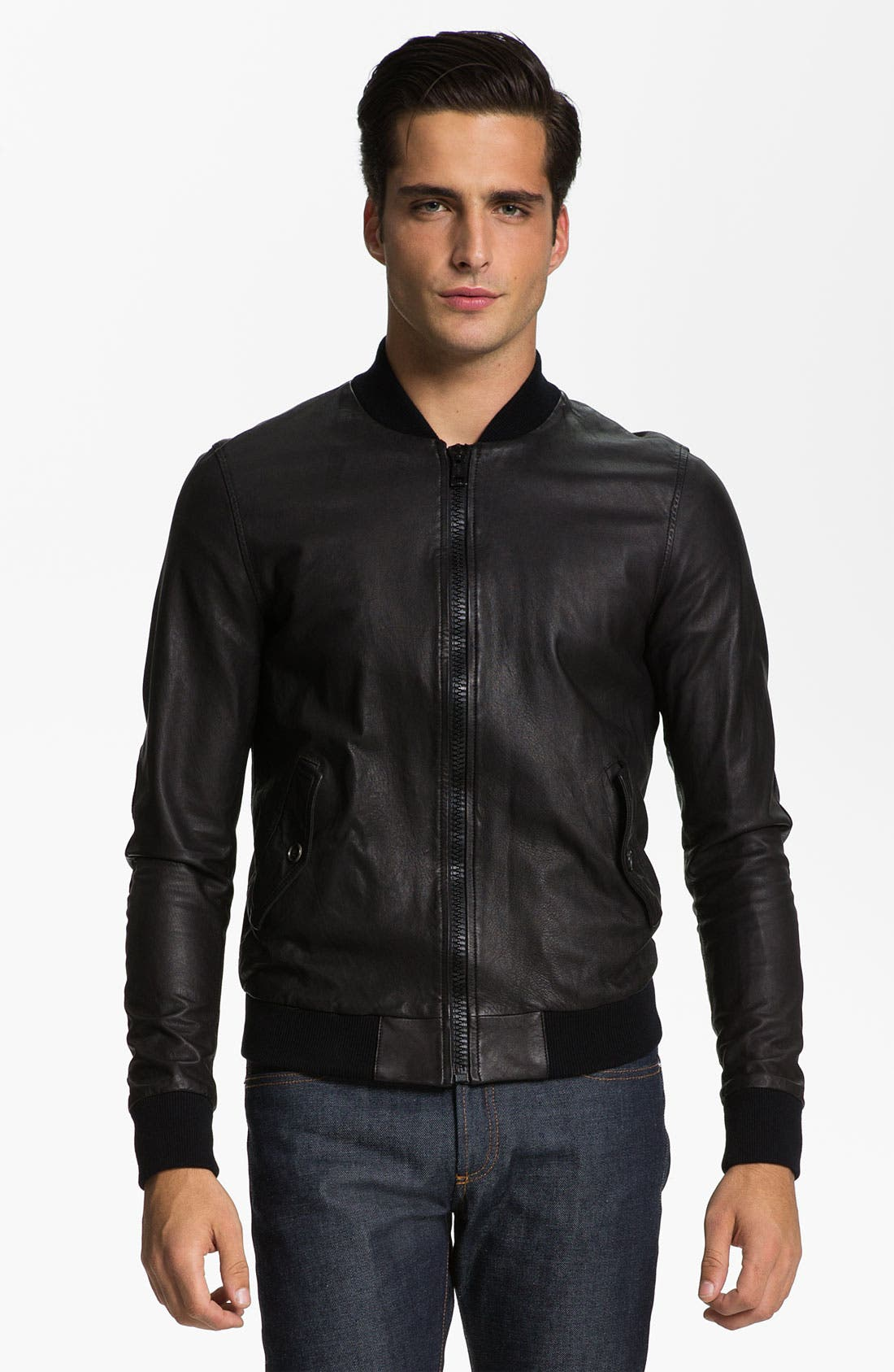 Main Image - Band of Outsiders Leather Bomber Jacket