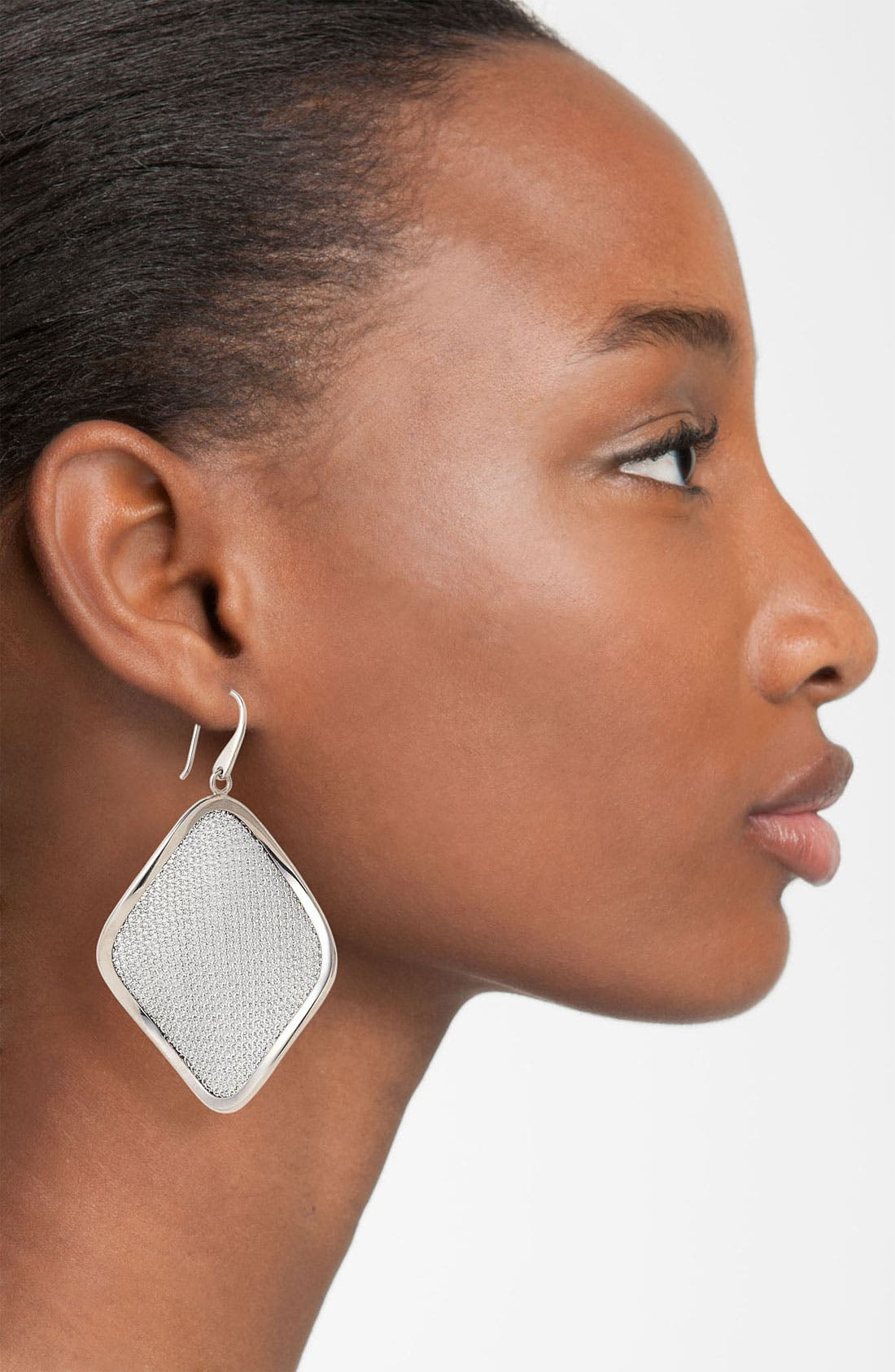 'Mesh' Large Drop Earrings,                             Alternate thumbnail 2, color,                             Silver