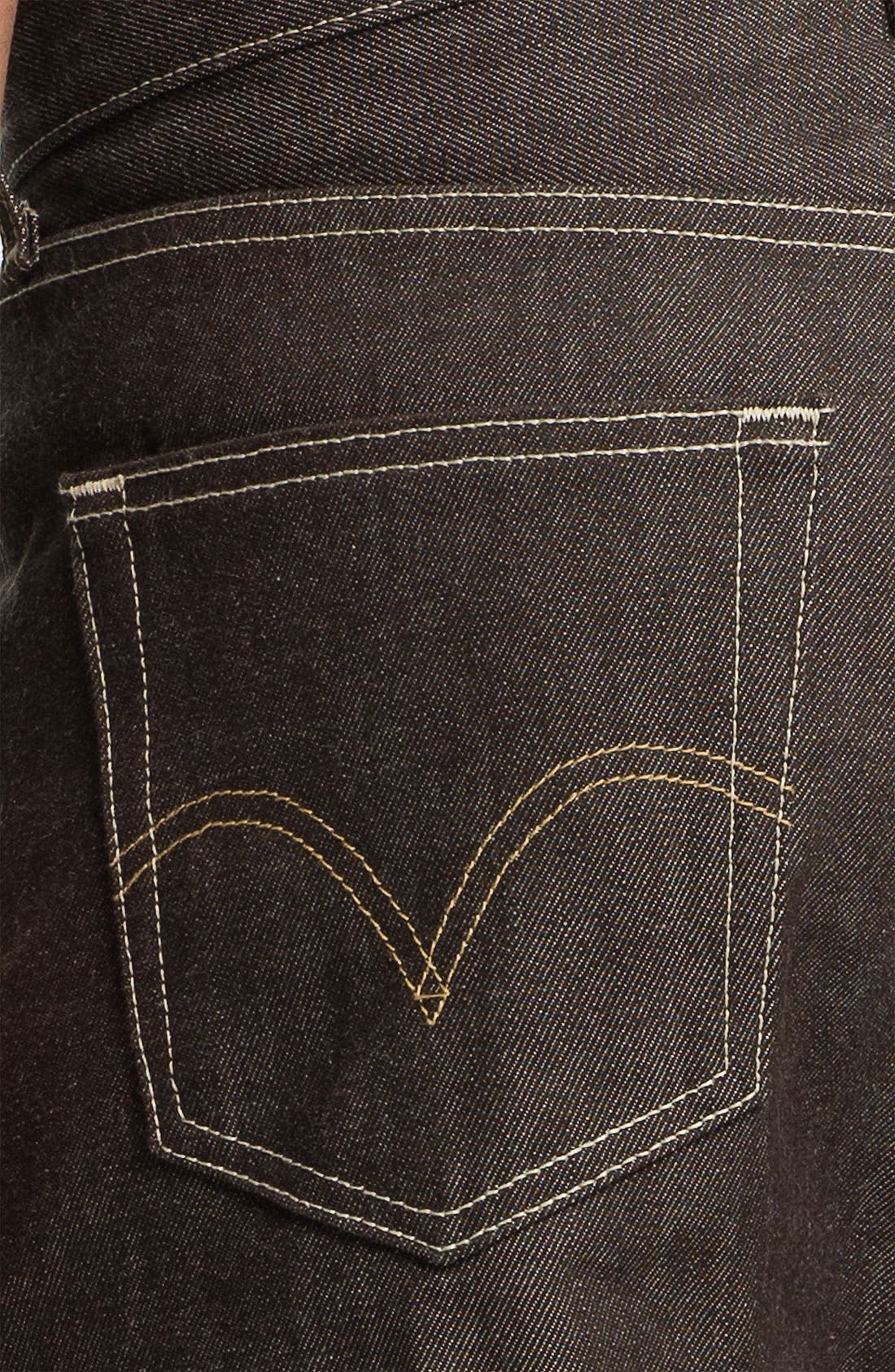 Alternate Image 4  - Levi's® '501®' Shrink-To-Fit Straight Leg Jeans (Brown Rigid)