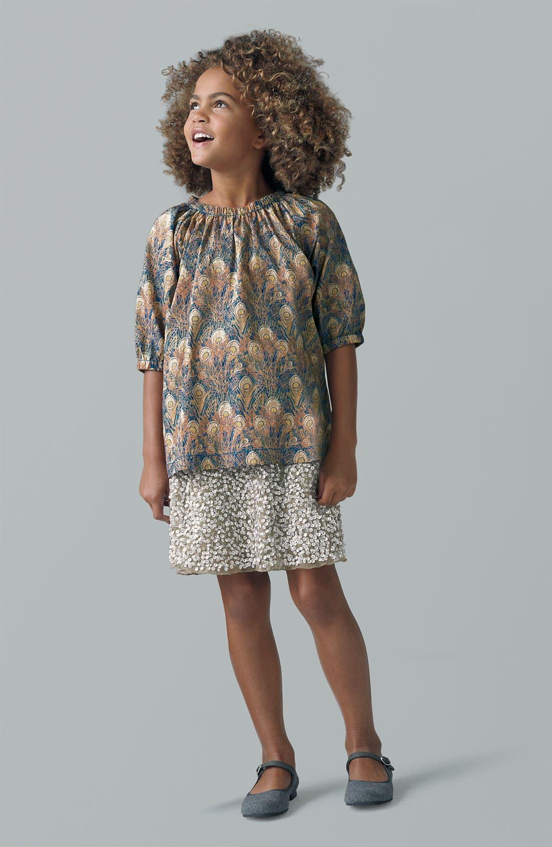 Main Image - Peek Top & Sequin Skirt (Toddler, Little Girls & Big Girls)