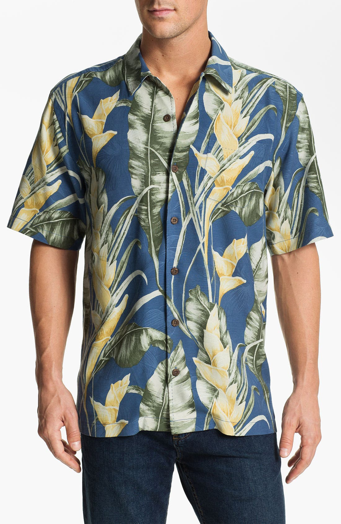 Main Image - Tommy Bahama 'Wind Waves' Silk Campshirt (Big & Tall) (Online Only)