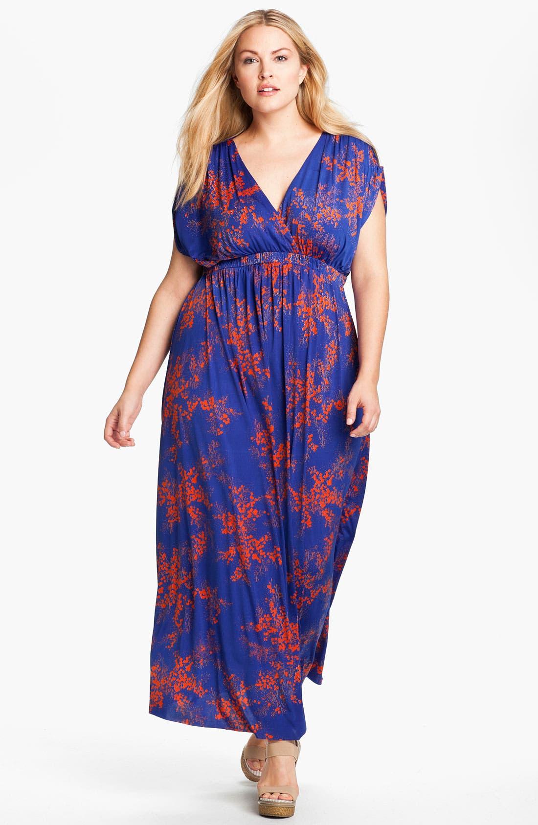 Main Image - Tbags Los Angeles Surplice Knit Maxi Dress (Plus)