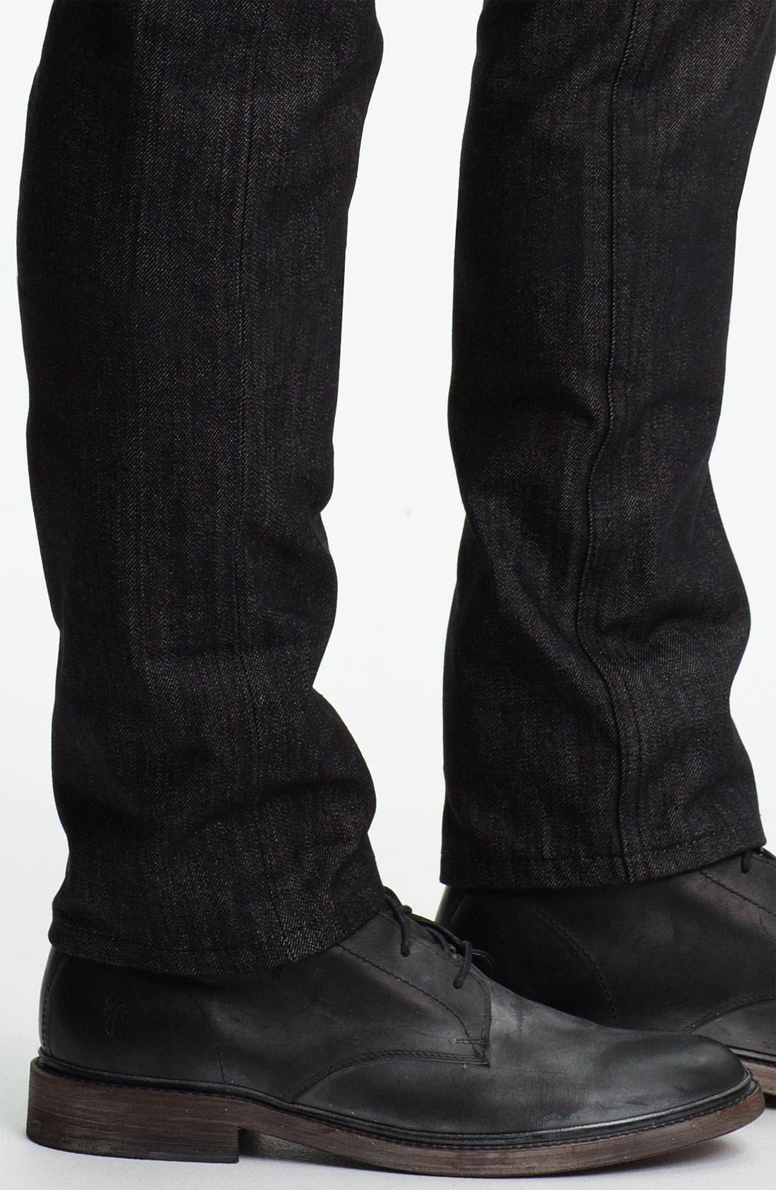 Alternate Image 4  - The Unbranded Brand Skinny Fit Selvedge Jeans (Black)