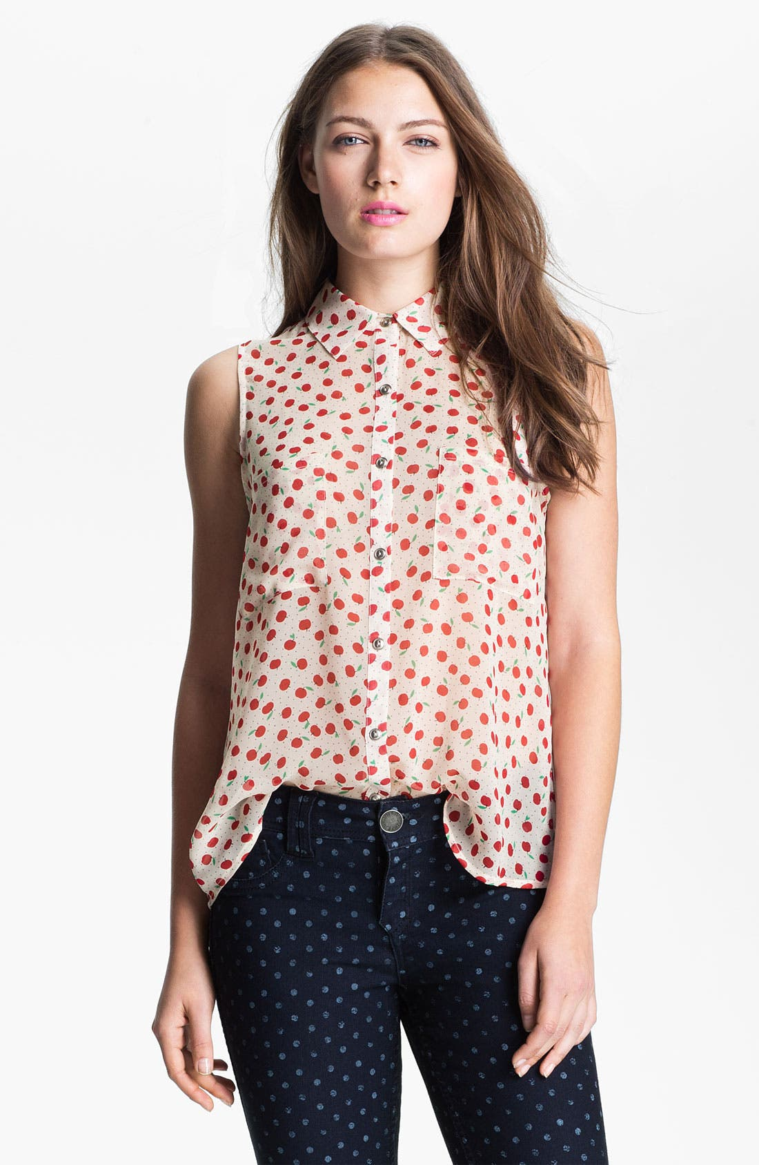 MOD.lusive Sleeveless Polka Dot Blouse,                         Main,                         color, Ivory/ Red