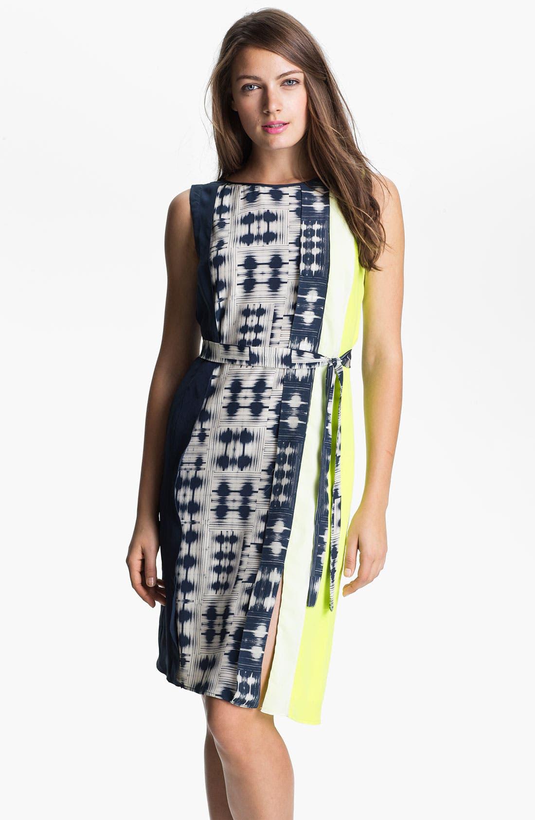 Main Image - BCBGMAXAZRIA Sleeveless Print Silk Dress