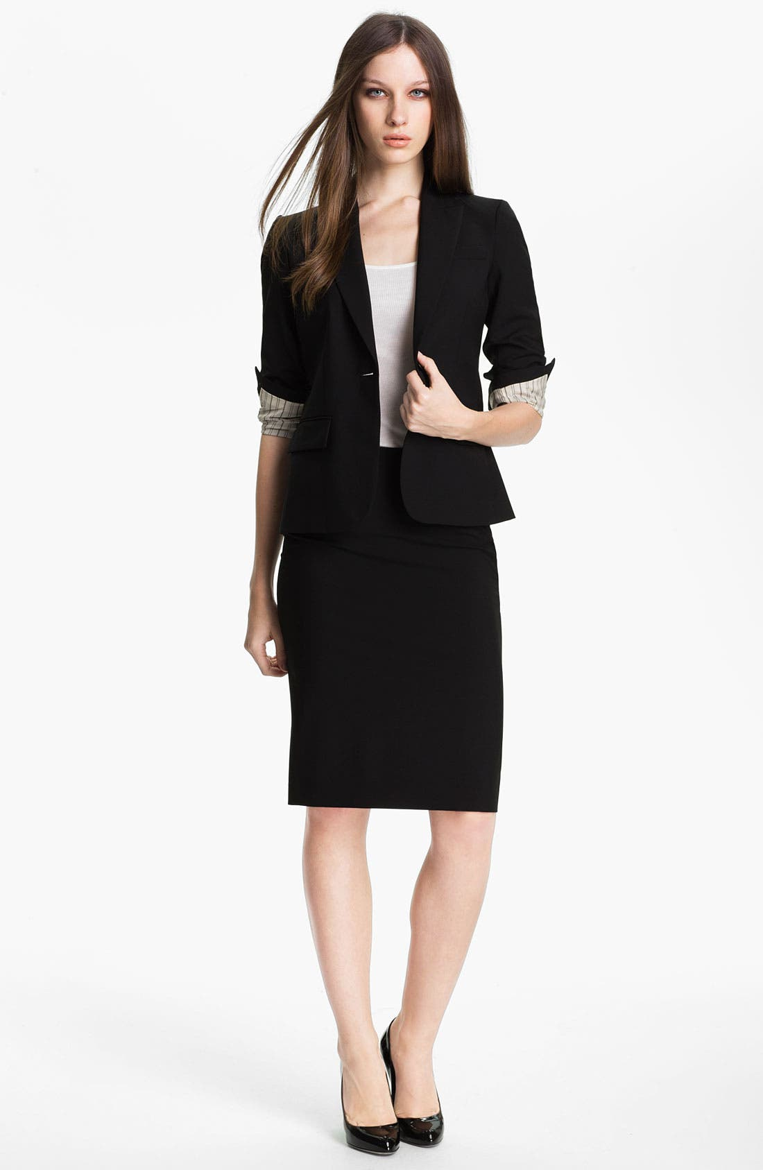 'Golda - Tailor' Pencil Skirt,                             Alternate thumbnail 5, color,                             Black