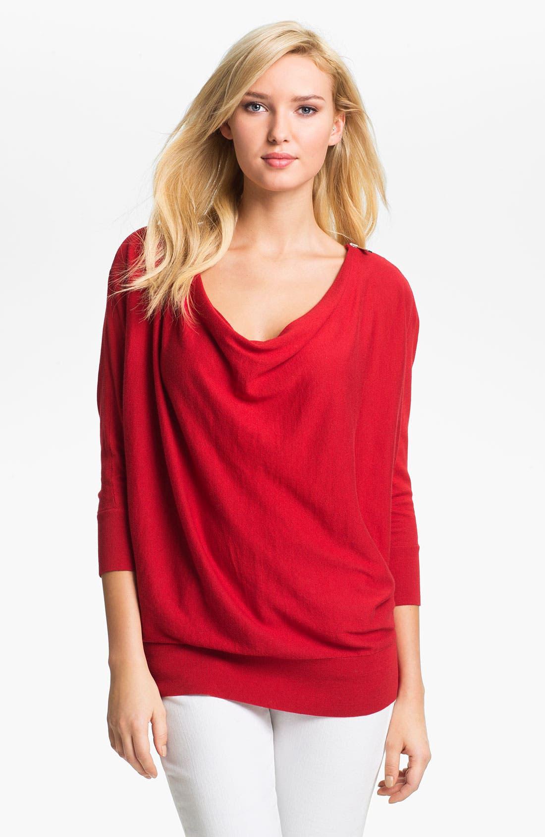 Alternate Image 1 Selected - MICHAEL Michael Kors Zip Shoulder Sweater