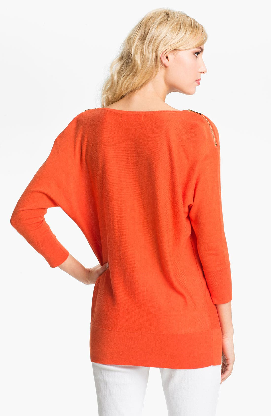 Zip Shoulder Sweater,                             Alternate thumbnail 2, color,                             Mandarin