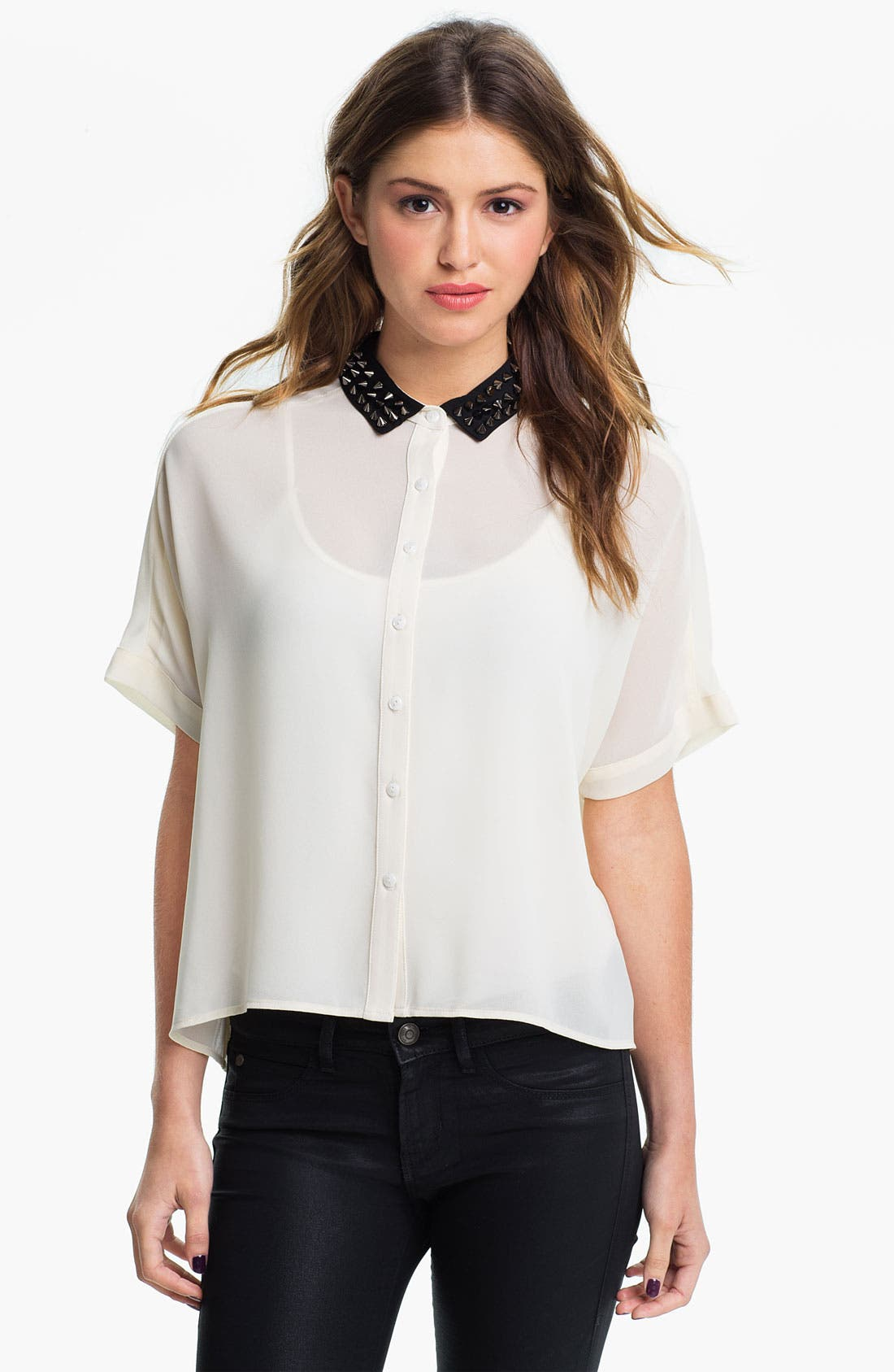 Main Image - Elodie Spike Stud Collar Shirt (Juniors)
