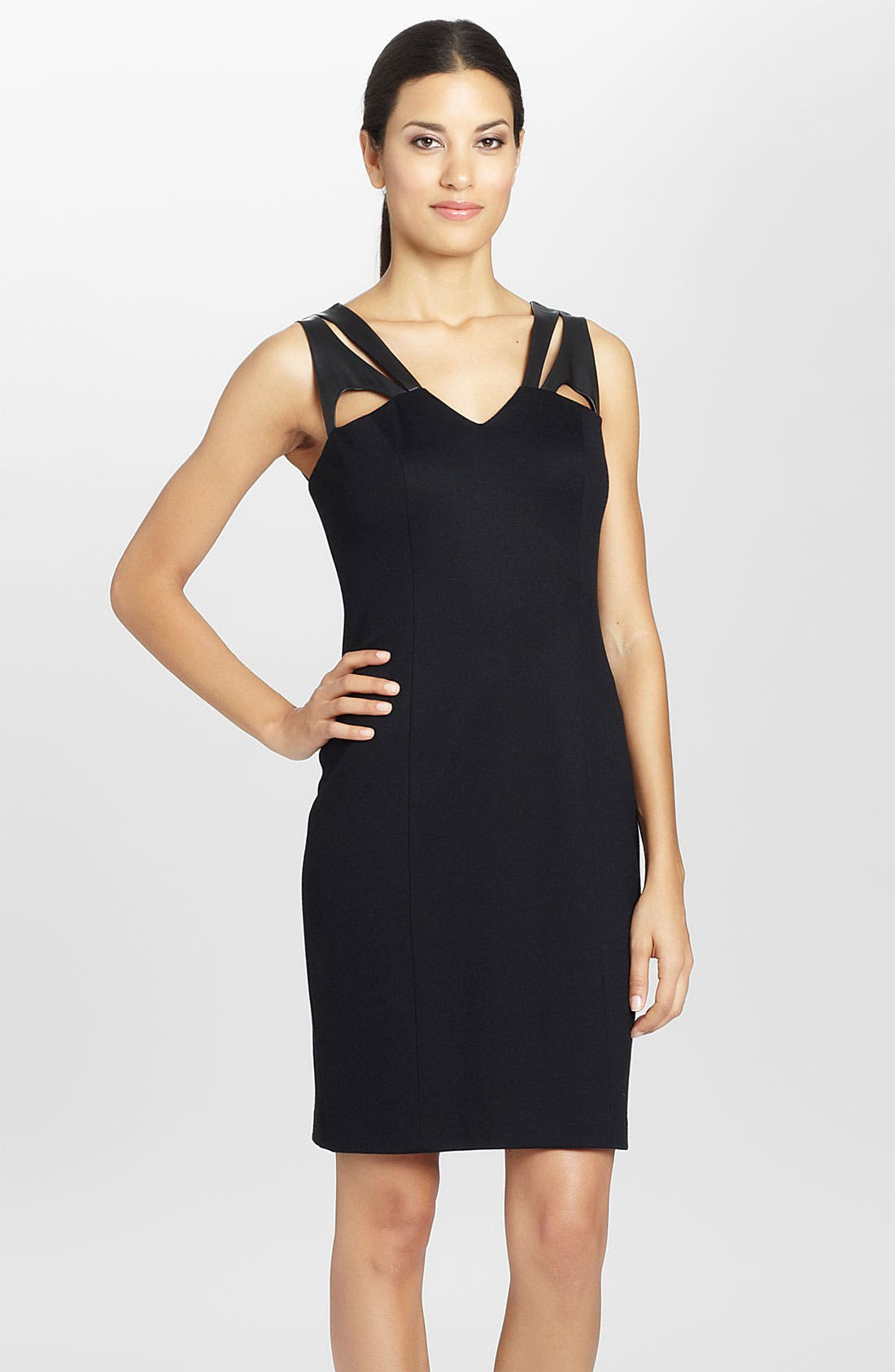 Alternate Image 1 Selected - Cynthia Steffe 'Callie' Cutout Leather & Ponte Sheath Dress