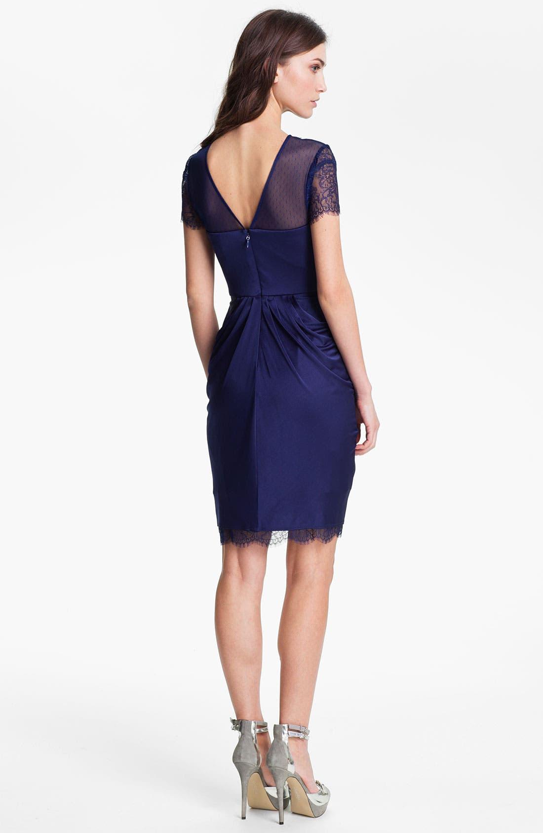 Alternate Image 2  - BCBGMAXAZRIA Lace Sleeve Gathered Jersey Dress