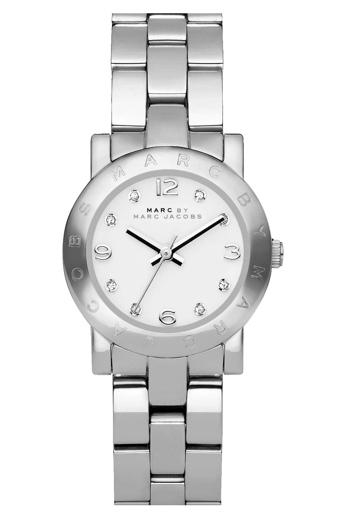 Main Image - MARC JACOBS 'Small Amy' Crystal Bracelet Watch, 26mm