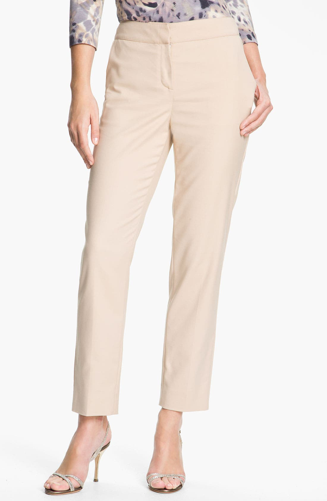 Alternate Image 1 Selected - St. John Collection 'Emma' Stretch Cotton Crop Pants