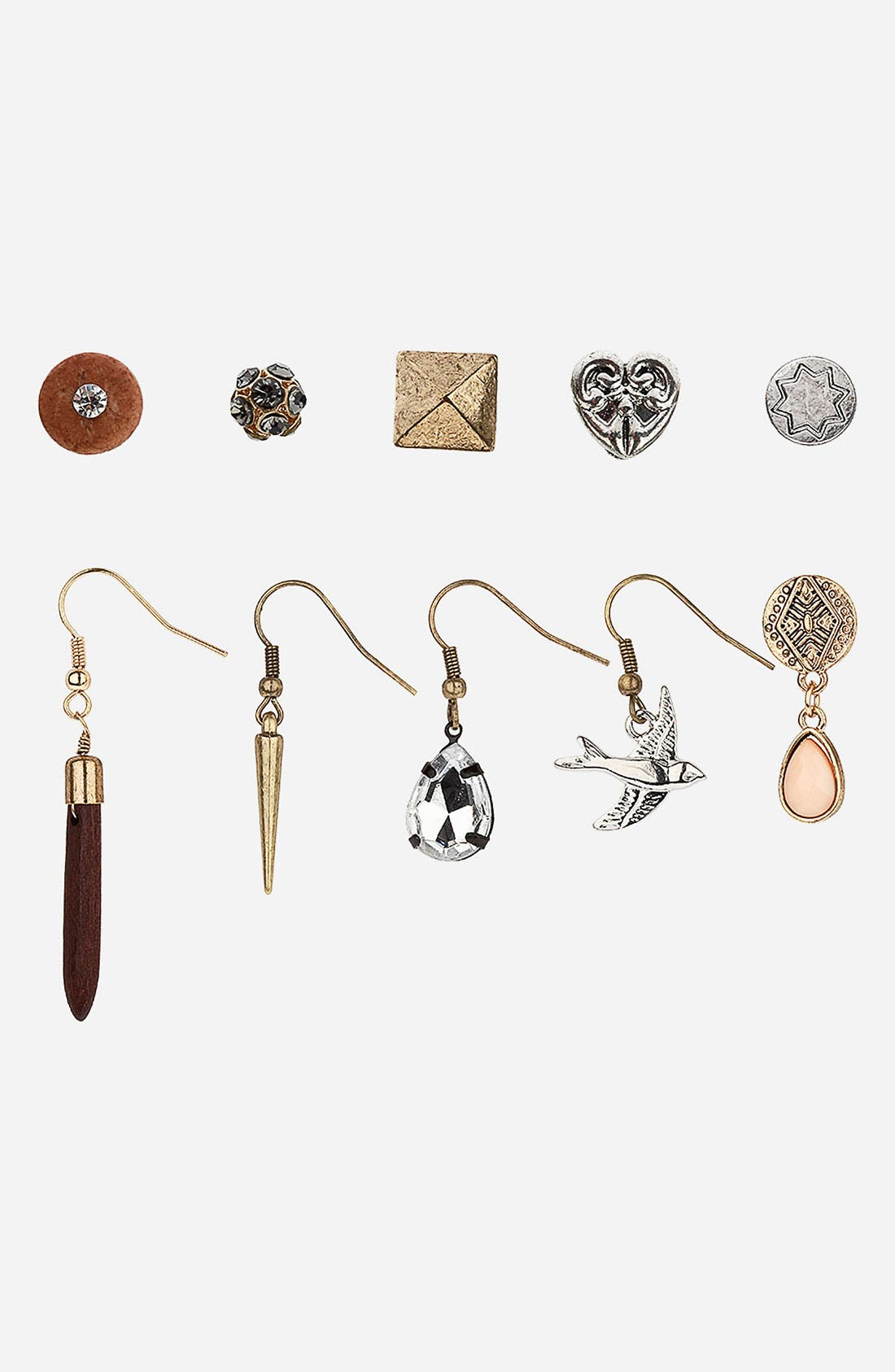 Main Image - Topshop 'Heart/Bird/Spike' Stud & French Wire Earrings (Set of 10)