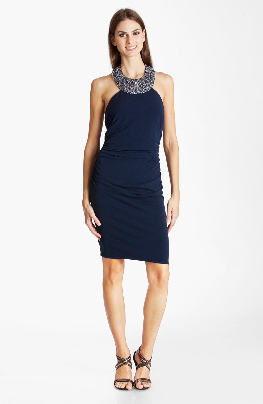 Alternate Image 1 Selected - JS Boutique Beaded Jersey Halter Dress