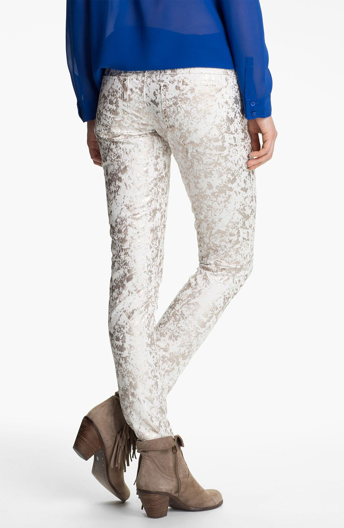 Alternate Image 1 Selected - Jolt Metallic Splatter Skinny Jeans (Juniors)