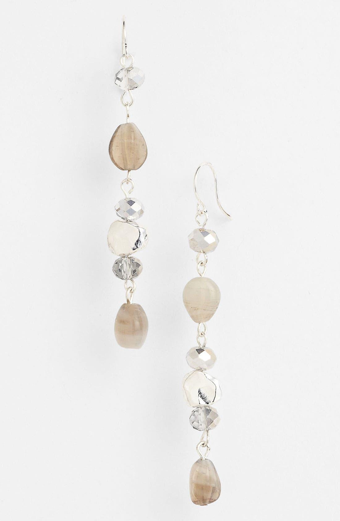 'Sand Dollar' Linear Earring,                             Main thumbnail 1, color,                             Slate/ Silver