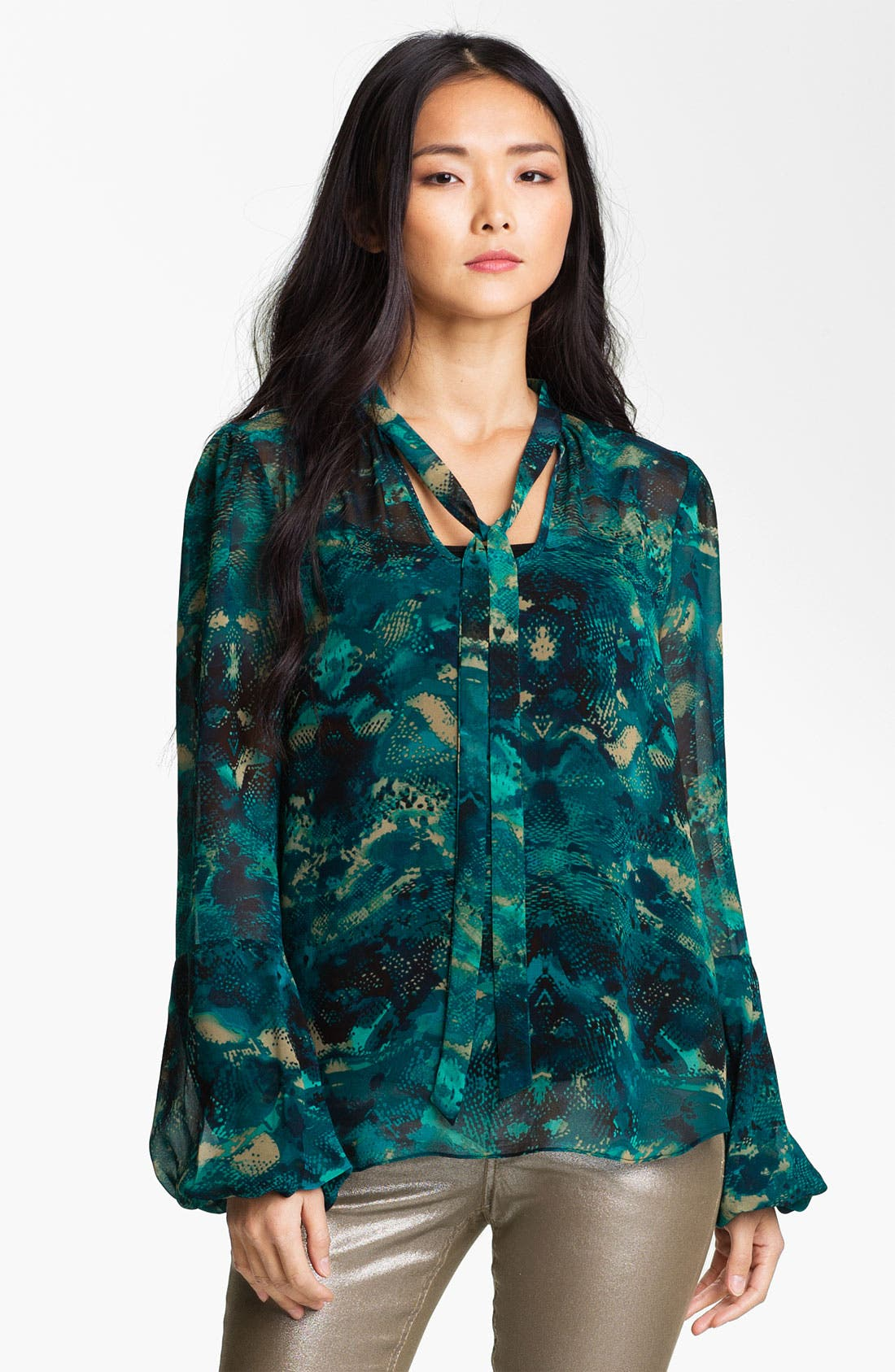 Alternate Image 1 Selected - Anne Klein Tie Neck Snakeskin Print Blouse (Petite)