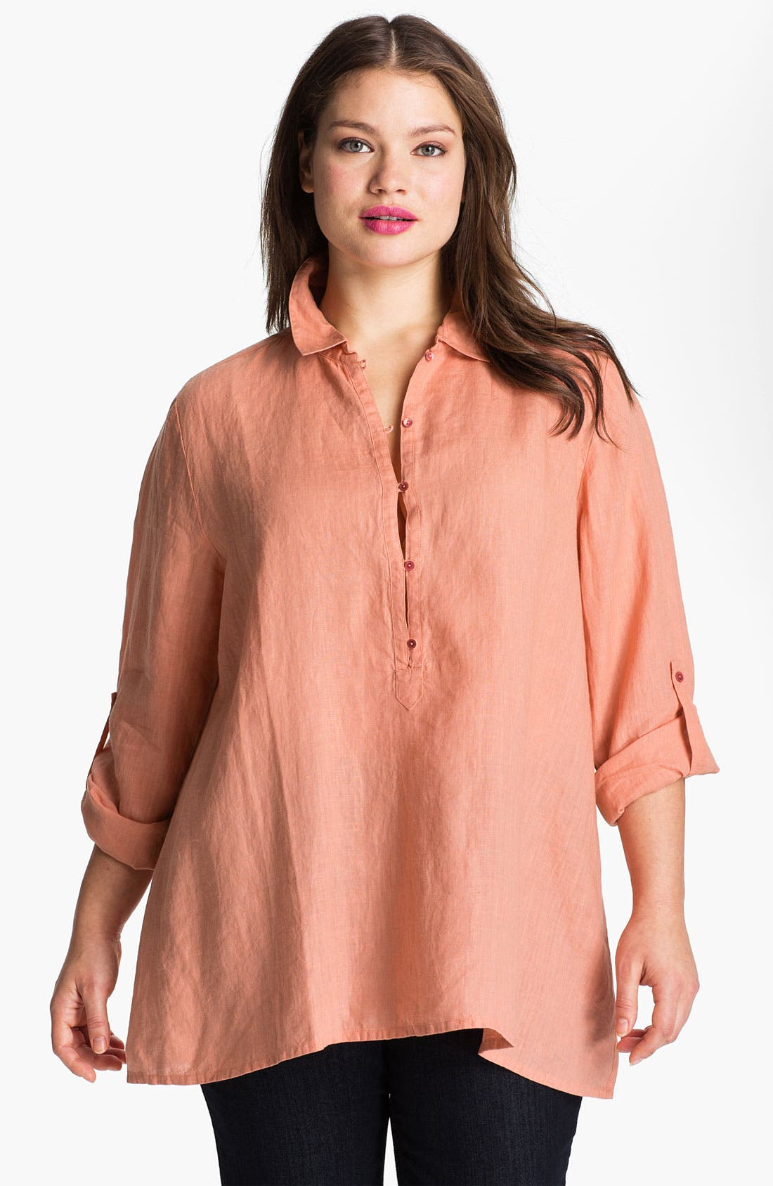 Alternate Image 1 Selected - Eileen Fisher Roll Sleeve Linen Tunic (Plus)