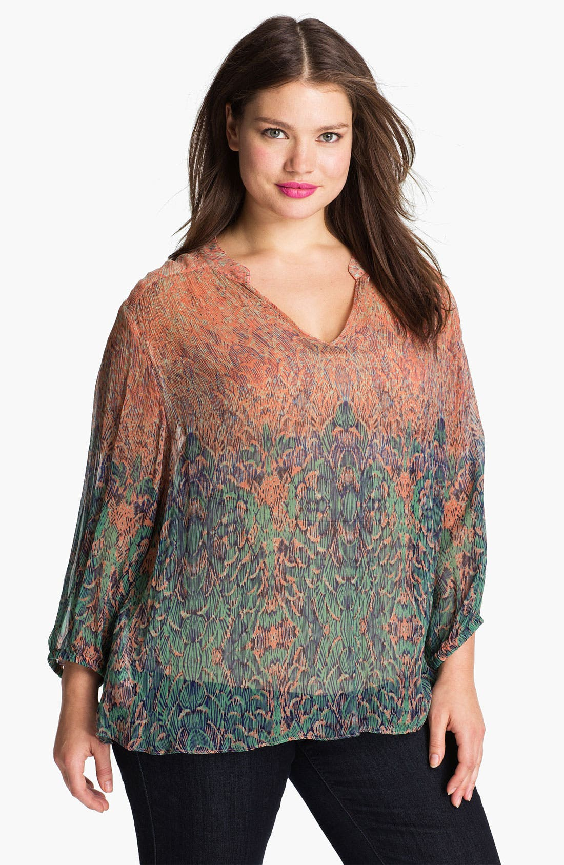 Alternate Image 1 Selected - Lucky Brand 'Sara' Sheer Deco Print Top (Plus)