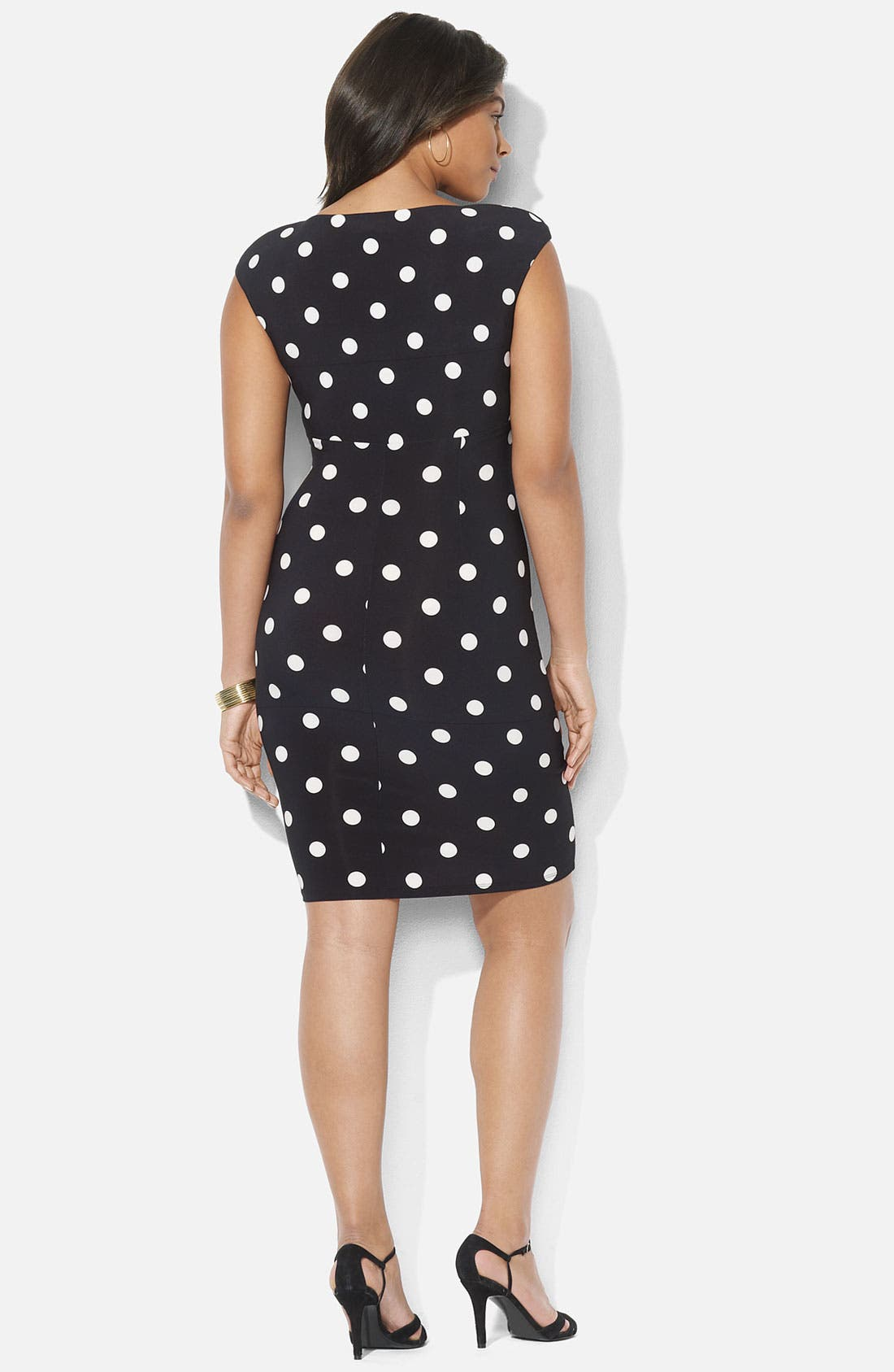 Alternate Image 2  - Lauren Ralph Lauren Polka Dot Surplice Matte Jersey Sheath Dress (Plus)