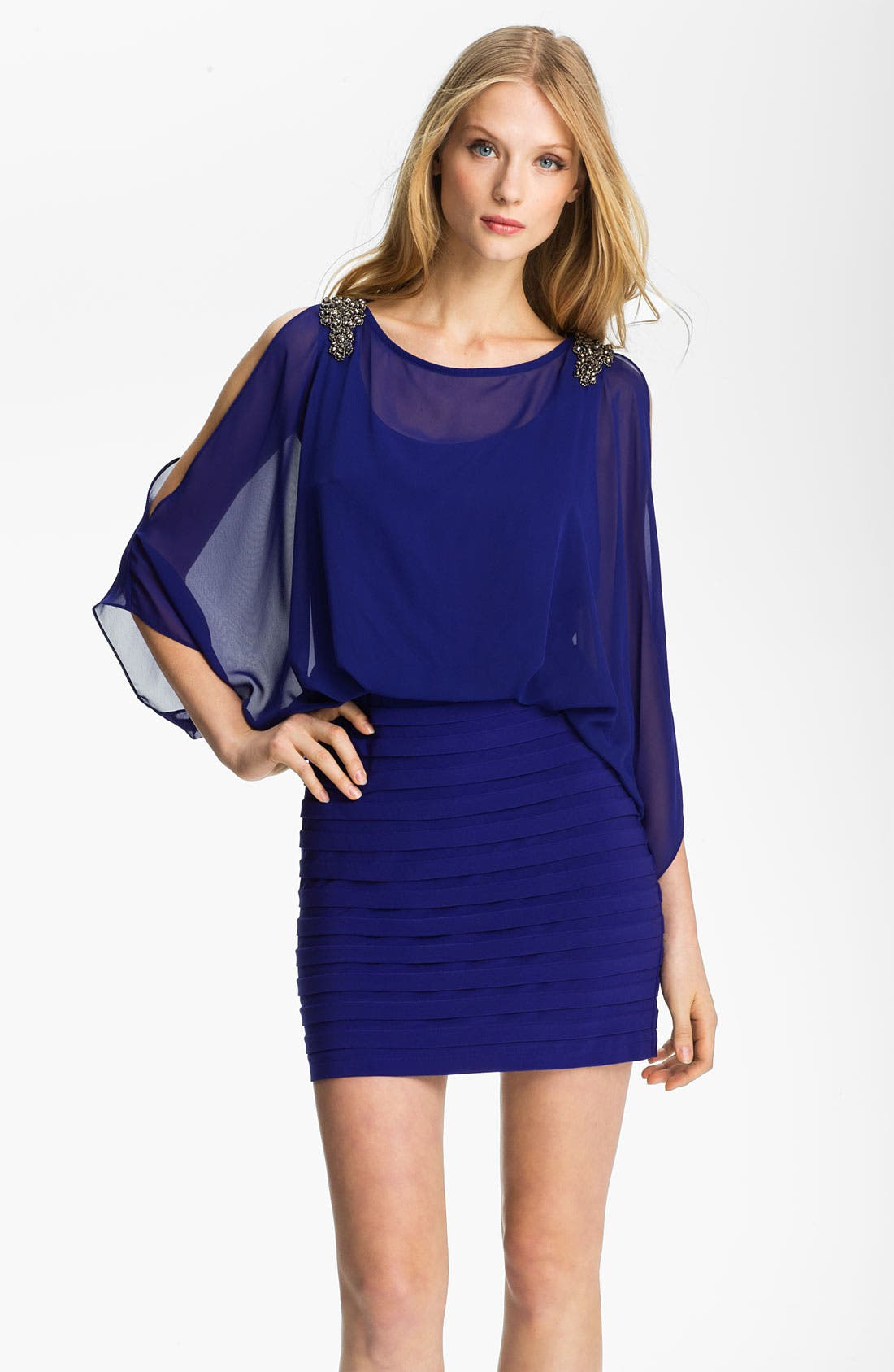 Main Image - Xscape Embellished Shoulder Chiffon & Jersey Blouson Dress
