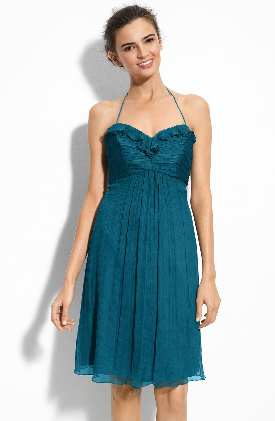 Alternate Image 1 Selected - Amsale Chiffon Halter Dress