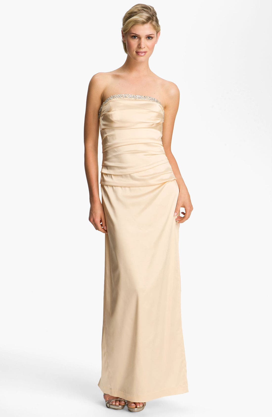 Main Image - Suzi Chin for Maggy Boutique Ruched Strapless Satin Gown