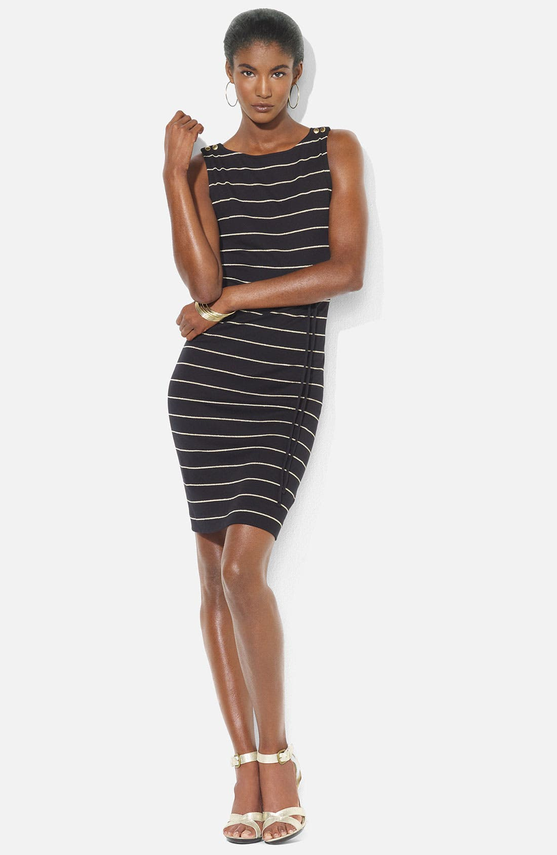 Main Image - Lauren Ralph Lauren Bateau Neck Stripe Dress (Petite)