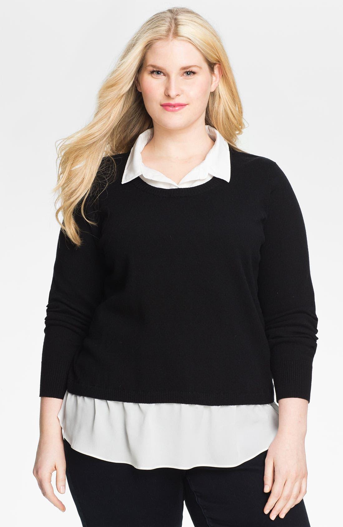 Main Image - DKNYC Layered Look Sweater (Plus)