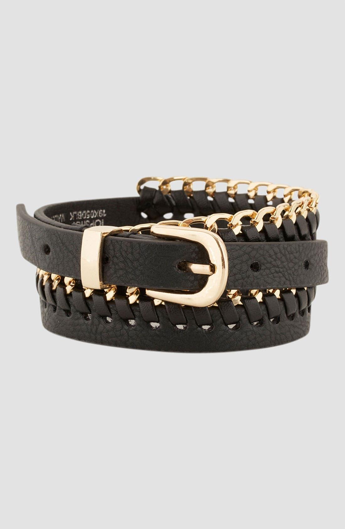 Alternate Image 4  - Topshop Chain Stitch Skinny Belt