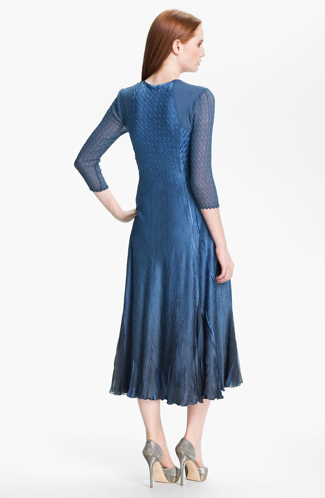 Alternate Image 2  - Komarov Embellished Square Neck Textured Charmeuse Dress