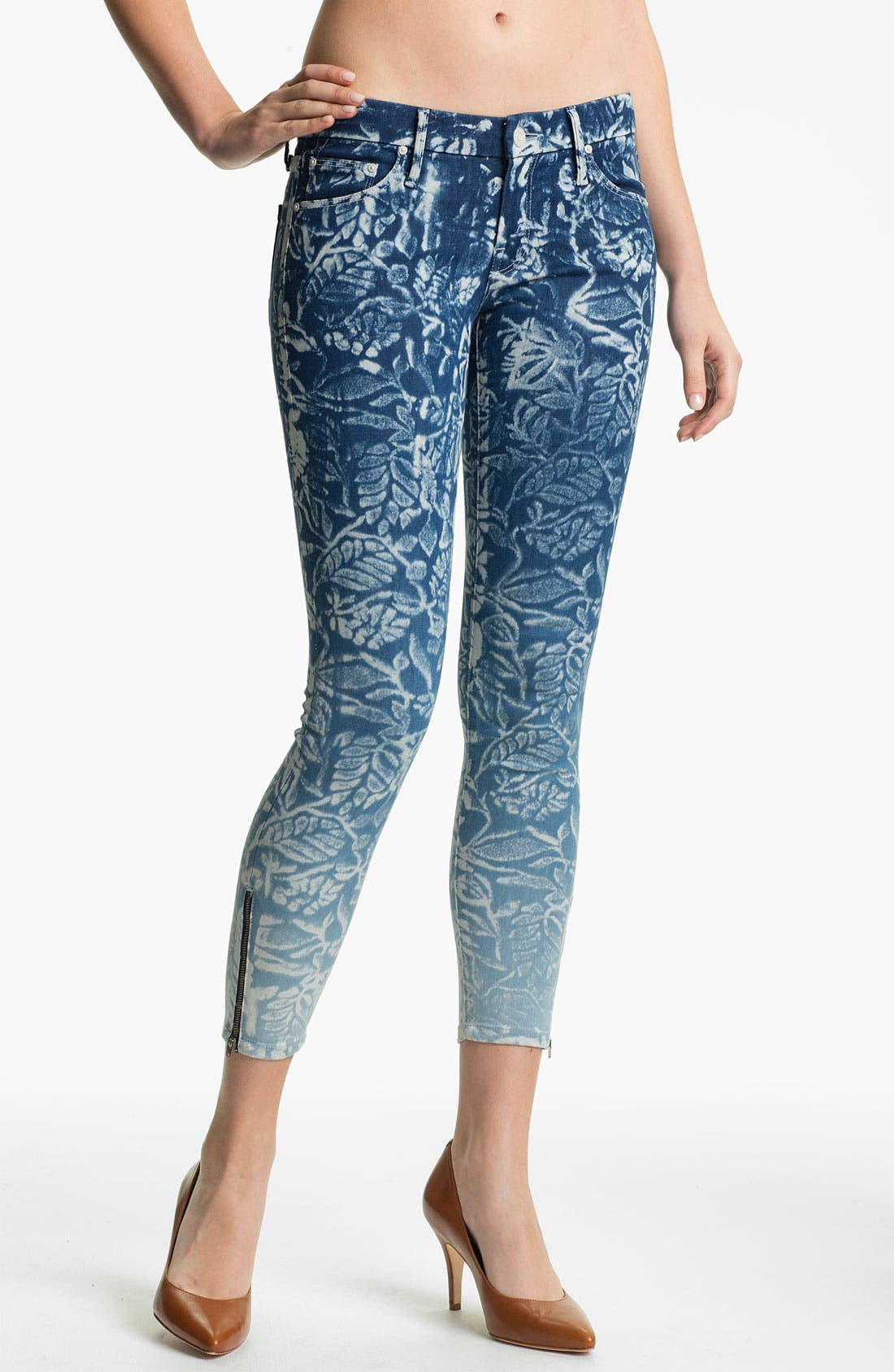 Alternate Image 1 Selected - MOTHER 'The Looker' Print Ankle Zip Skinny Jeans (Flowers in the Forest)