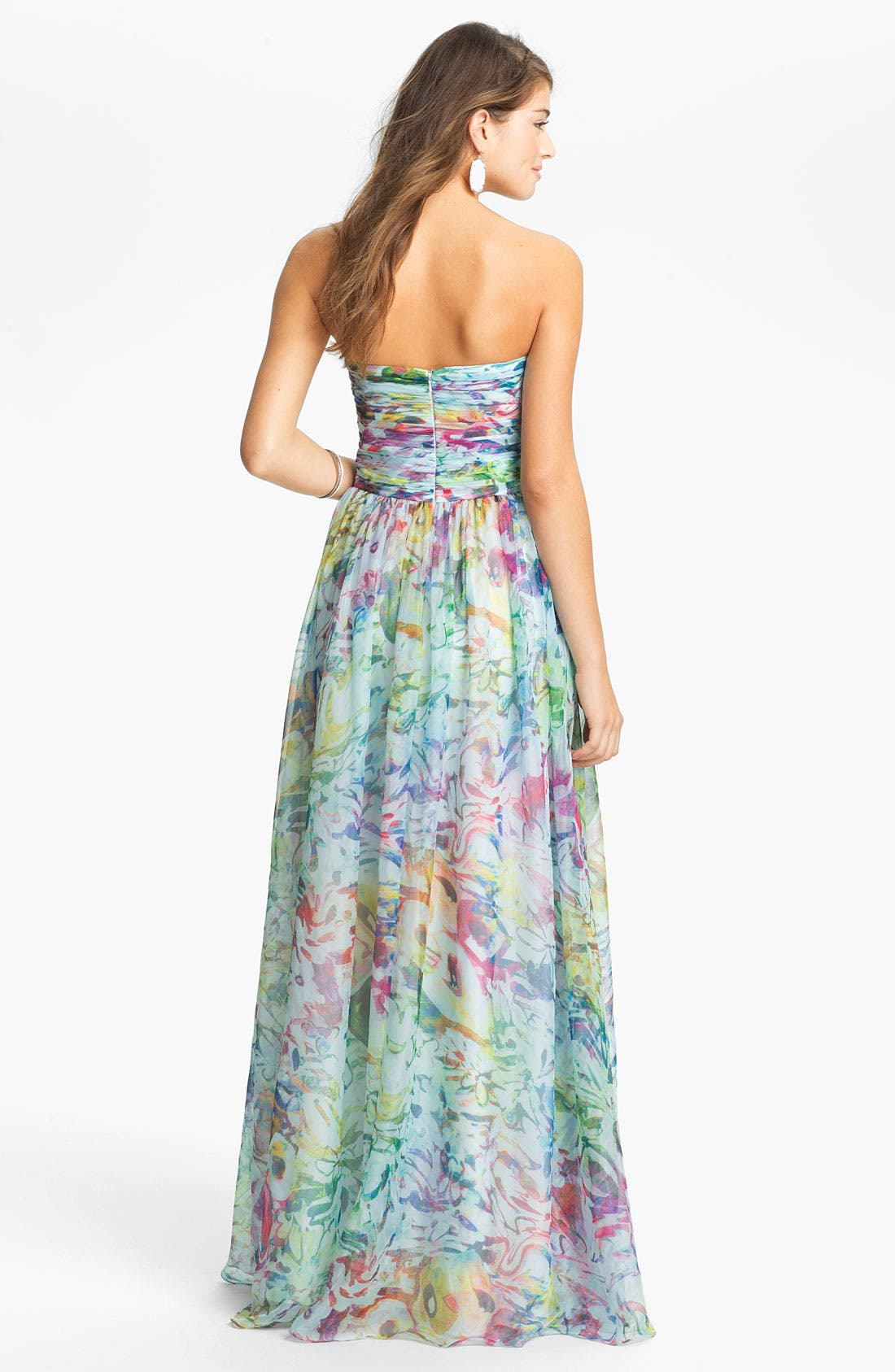 Alternate Image 2  - La Femme Print Strapless Maxi Dress