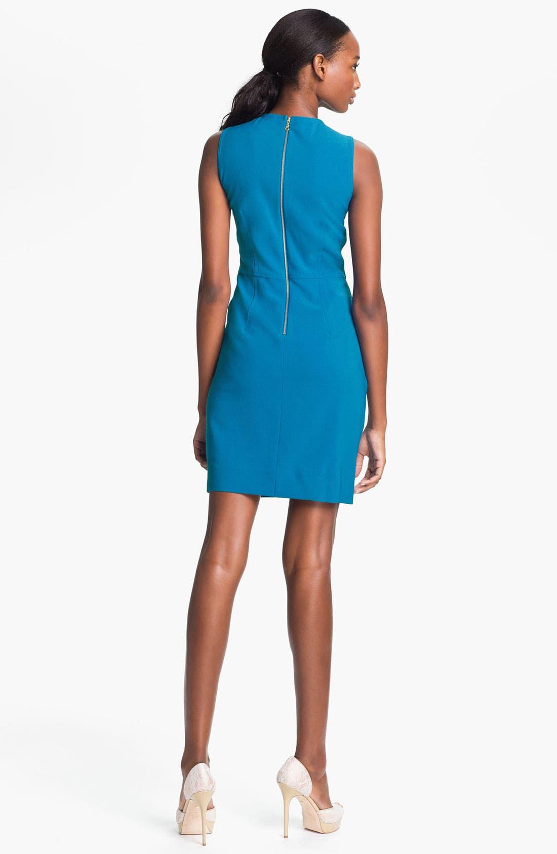 Alternate Image 2  - Taylor Dresses Beaded Neck Crepe Sheath Dress